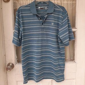 Ariat Tek Heat Series Blue Striped Polo Shirt Sz S